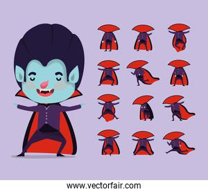 cute little boy with dracula costume and set icons