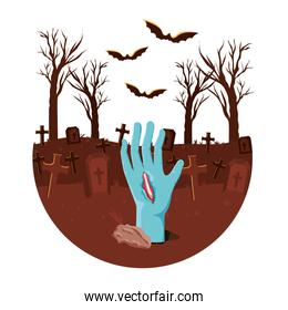zombie hand coming out of the ground cemetery scene