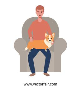 young man lifting cute dog in the sofa characters