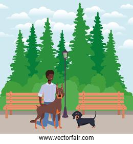 young afro man with cute dogs mascots in the park