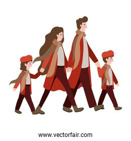 parents and kids with autumn clothes