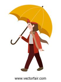 cute little girl with umbrella and autumn clothes