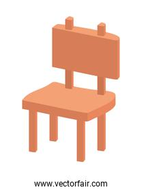 wooden park chair isolated icon