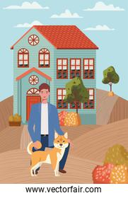 young man with cute dog mascot in the autumn city scene