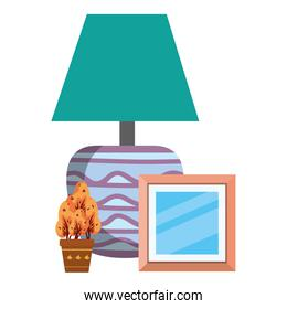 house lamp with plant and picture decorative icons