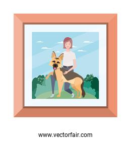 young woman with cute dog in picture