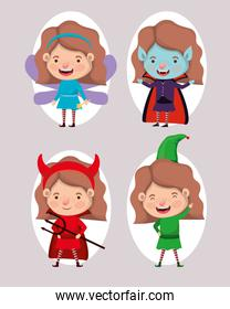 cute little girls with different costumes
