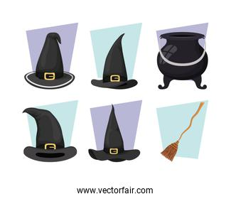 witch cauldron and hat with broom icons