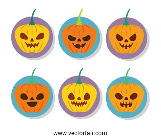 halloween pumpkins with faces set icons