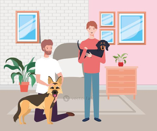 young men with cute dogs mascots in the livingroom