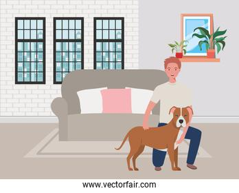 young man with cute dog mascot in the livingroom