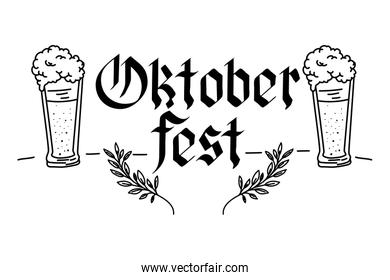 beers glasses and calligraphy oktoberfest celebration