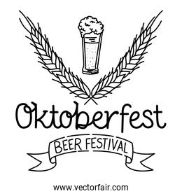 beer glass with lettering oktoberfest celebration icon