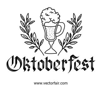beer cup with wreath crown oktoberfest celebration icon