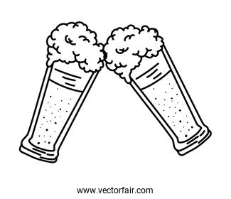 beers glasses linear style icon