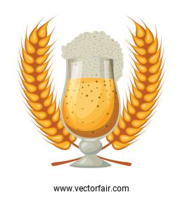 beer cup with wheat spikes oktoberfest celebration icon