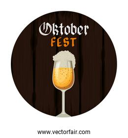 beer cup with lettering oktoberfest celebration icon