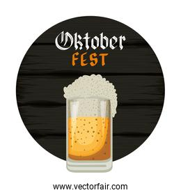 beer jar with lettering and wooden background oktoberfest