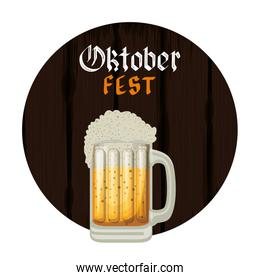 beer jar with lettering and wooden background oktoberfest label