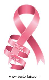 breast cancer campaign ribbon with calligraphy
