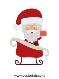 merry christmas santa claus in sled character