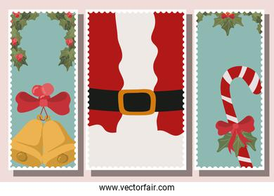 happy mery christmas card with set icons