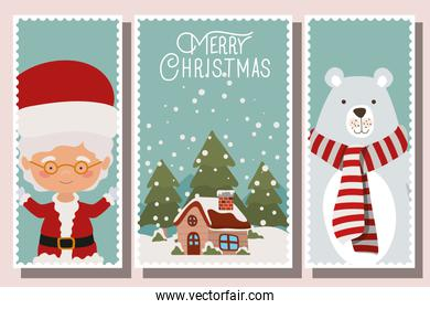 happy mery christmas card with characters