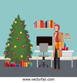 young man with pine tree in the office
