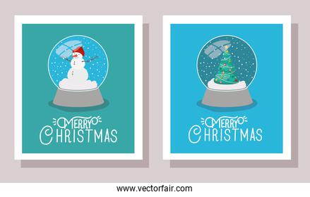 happy mery christmas card with crystal balls