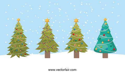 happy mery christmas card with pines trees