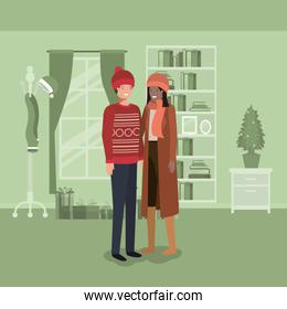 young couple with pine tree christmas indoor house