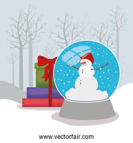 happy mery christmas card with crystal ball and gifts