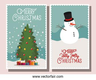 happy mery christmas card with snowman
