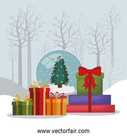 happy mery christmas card with gifts box