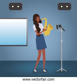 afro woman playing saxophone character