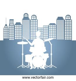 man playing battery drums character silhouette