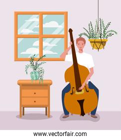 man playing cello instrument character
