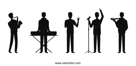 group music band playing instruments silhouettes