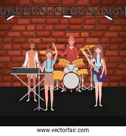 group of women music band playing instruments