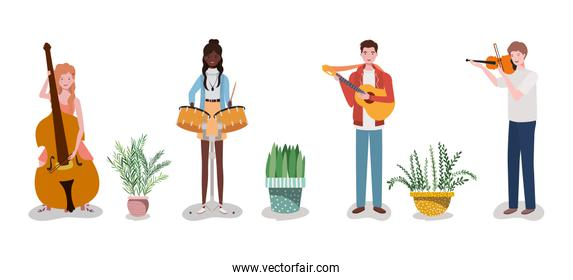 group music band playing instruments and houseplant