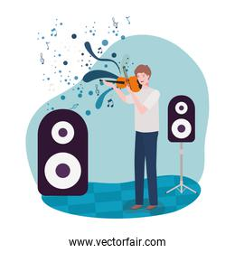 man playing fiddle avatar character