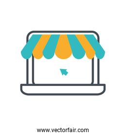 laptop computer with parasol store