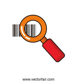 magnifying glass with bar codes icons