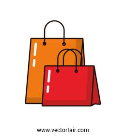 shopping bags paper isolated icons