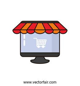 desktop computer with parasol and cart shopping over white