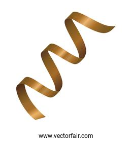 golden ribbon decoration isolated icon