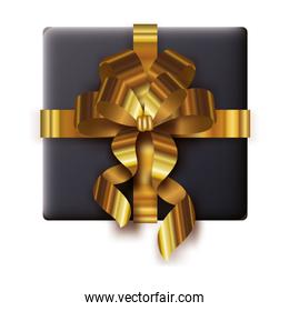 happy merry christmas gift box with golden bow