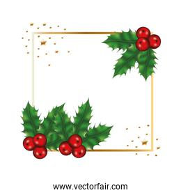 happy merry christmas tree branches and cherries frame