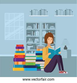 woman student reading book character