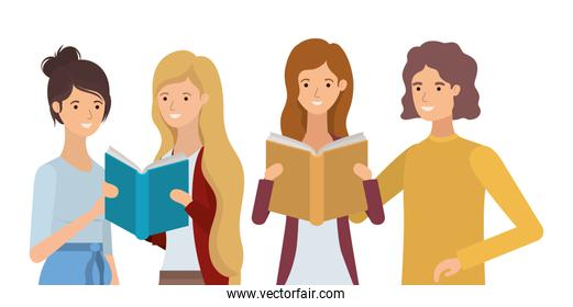 group of students girls reading books